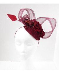 Etsy Burgundy Wine Red Rose Flower Feather Hat Fascinator Races Wedding Hair 5751