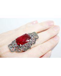 Etsy Very Big Rings Silver 925 Dark Red Stone Marcasite Jewelry Woman Armenian Large Ring Full Finger Armor Feminine Gift Sterling