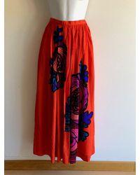 Etsy Jupe En Soie Vintage Des Années 70 Français Au Design Floral Audacieux Xs - Rouge