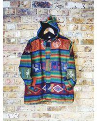 Etsy New Hippie Boho Bohemian Retro Funky Multi Colour Festival Autumn & Winter Cotton Nepalese Fleecelined Jacket Hoodie Jumpers - Blue