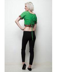 Etsy Boho Crop Top Indien En Coton Brodé Agrémenté D'été Vert Lacets Vintage Des Années 70 L Large