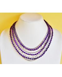 Etsy Reclaimed Amethyst Gemstone Statement Necklace Big Bold Chunky Natural Stone Purple Silver Multi Strand Ooak Gift For Her Mom - Metallic