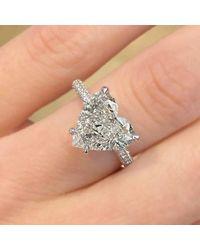 Etsy - 4.70ct Heart Cut Moissanite Engagement Ring Hidden Halo 14k White Gold Palladium Platinum Handmade Diamond Unique Anniversary - Lyst