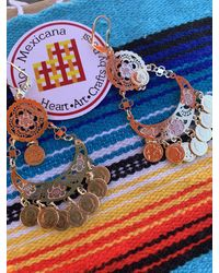 Etsy Mexican Filigree Gold Plated Earrings Authentic From Mexico Very Feminine & Unique Design Tehuana Oaxaca Guelaguetza - Metallic