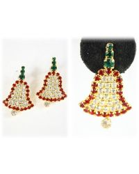 Etsy Vintage Earrings Rhinestone Christmas Bell Earring Pierced - Green