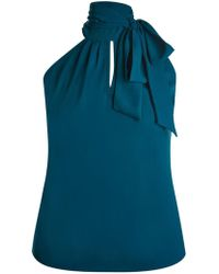 City Chic - Teal Green Bow Top - Lyst
