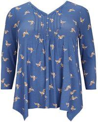 Evans - Blue Bird Print Pintuck Top - Lyst