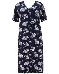 96b5318ddc Evans - Navy Blue Floral Print Nightdress - Lyst