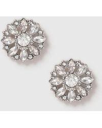 Evans - Silver Pretty Sparkle Stud Earrings - Lyst
