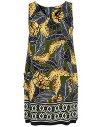 Evans Khaki Palm Print Shift Dress - Multicolour
