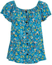 Evans Turquoise Floral Print Button Detail Gypsy Top - Blue