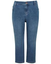 Evans - Denim Midwash Cropped Jeans - Lyst
