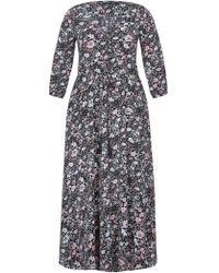 City Chic - Etched Floral Print Maxi Dress - Lyst