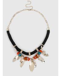 Evans Bright Multi Colour Bead Rope Collar Necklace - Multicolour