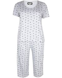Evans Grey Floral Polka Dot Print Pyjamas