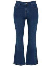 Evans - Curve Fit Midwash Straight Leg Jeans - Lyst