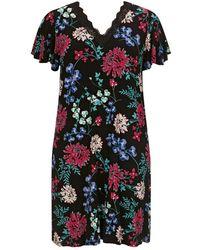 Evans - Black Floral Print Nightdress - Lyst