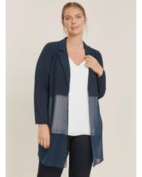 Evans Navy Blue Collared Sheer Kimono