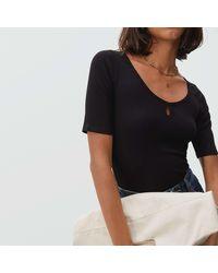 Everlane Stretch-rib Scoop-neck T-shirt - Black
