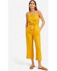 Everlane Linen Square-neck Jumpsuit - Yellow