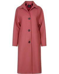 Paul Smith Open Neck Wool Coat - Pink