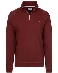 Farah Jim Half-zip Sweatshirt - Red