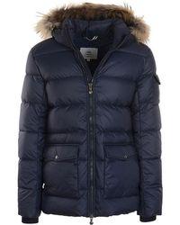 Pyrenex Authentic Mat Fur Trim Quilted Coat - Blue