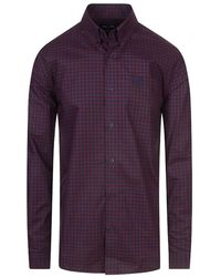 Fred Perry Long Sleeve Gingham Shirt - Purple