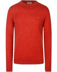 Farah Rosecroft Knitted Crew Neck Jumper - Red