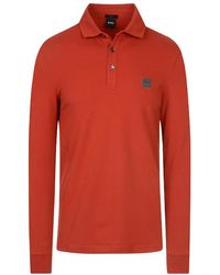 BOSS Orange Passerby Long Sleeve Polo Neck Shirt - Red