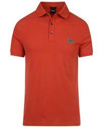 BOSS Orange Passenger Short Sleve Polo Shirt - Red