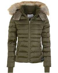 Calvin Klein - Short Faux Fur Hooded Puffa Coat - Lyst