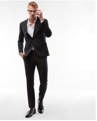 Express - Extra Slim Charcoal Stripe Wool Blend Suit Jacket - Lyst