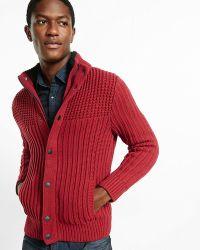 Express Sherpa Lined Mock Neck Fleece Jumper - Red
