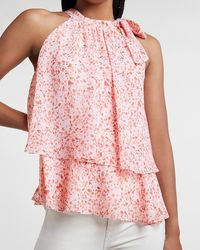 Express Printed Tiered Tie Halter Neck Tank Pink Print - Multicolour