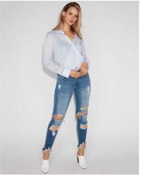 Express - Collar Surplice Thong Bodysuit - Lyst