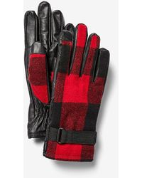Express Mixed Media Check Gloves Red