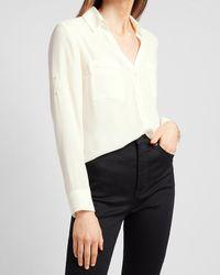 Express Slim Fit Portofino Shirt Swan - White