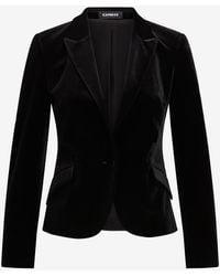 Express Velvet Peak Lapel One Button Cropped Business Blazer Pitch Black