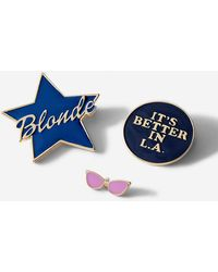 Express Set Of Three Blonde Star And Sunglasses Pins - Blue