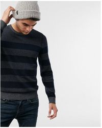 Express - Ig & Tall Reversible Striped Crew Neck Jumper - Lyst