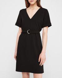 Express Belted V-neck Tunic Shift Dress Black Xxs