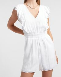 Express Embroidered Lace Ruffle Sleeve Romper White