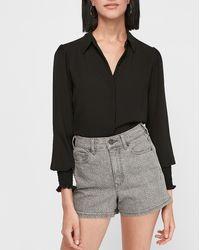 Express Super High Waisted Animal Print Jean Shorts - Black