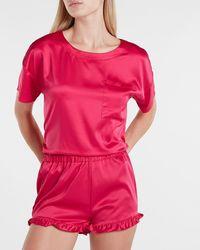 Express Satin Ruffle Sleep Shorts Pink S