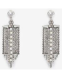 Express Rhinestone Fringe Drop Earrings Silver - Metallic