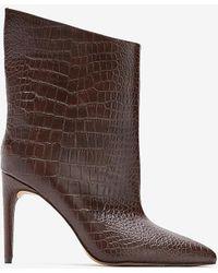Express Snakeskin Textured Asymmetrical Booties Brown 5 - Metallic