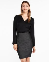 Express Seamed Pencil Skirt Black And White 18