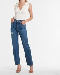 Express Super High Waisted Ripped Raw Hem Modern Straight Jeans - Blue