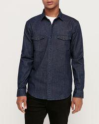Express Slim Western Denim Shirt Blue S